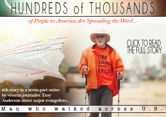 Man who walked across U.S. saw revival signs. Affirms noted evangelists who antici
